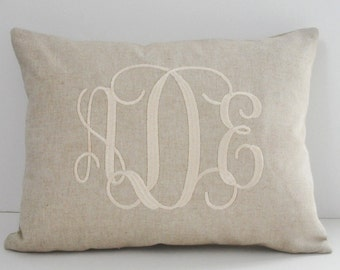 Monogrammed Lumbar Pillow INSERT INCLUDED Natural Decorator Cotton Linen Weave  Shower Gift Wedding Gift Birthday Gift Sorority Gift