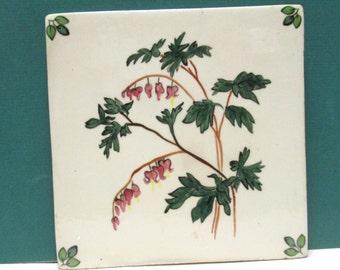 Tile Trivet Hand Painted Tea Tile Vintage Ceramic WildFlower Hot Mat Bleeding Heart Pink Green Botanical Dicentra Tea Party China Tile
