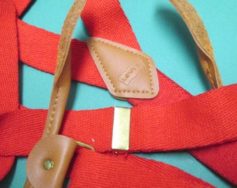 Vintage Levis Suspenders Santa Adjustable Red, Leather Levis Jeans Brand Unisex Western Suspender Belt Galluses Christmas