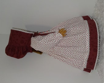 Burgundy and White Prairie Dress and Bonnet, Fits American Girl and 18 Inch Dolls