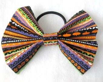 Halloween Stripes Ponytail Hair Bow