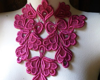 Fuchsia Beaded Lace Applique with Rhinestones for Lyrical Dance, Jewelry, Garments, Costume Design CA 200f
