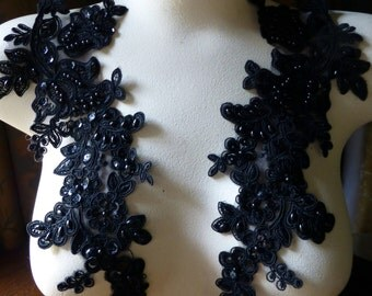 BLaCK Applique Beaded Lace Pair  for Lyrical Dance, Bridal, Headbands, Sashes, Costume Design PR 96bl