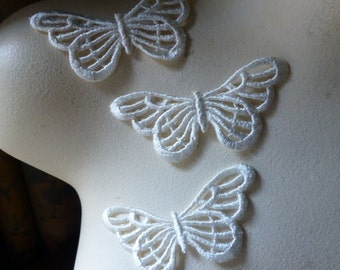 3 Butterfly Appliques Large size in Ivory  Venise Lace American made for Bridal, Headbands, Gift Wrap, Crafts AM 27