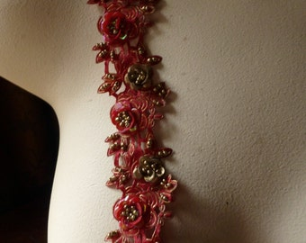 """Beaded Flower Trim in Red 18"""" for Lyrical Dance, Headbands, Costume or Jewelry Design"""