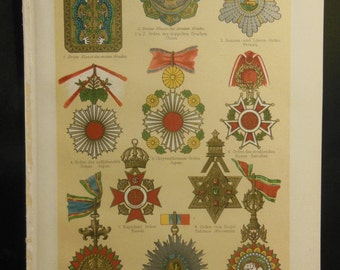 Antique Book Print of Medals