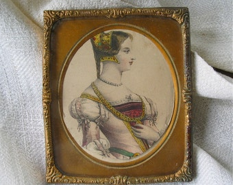 Antique Repousse Copper Frame with Hand Colored Engraving of Renaissance Women Signed Nancy Van Alstine