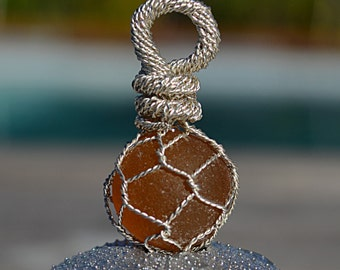 Amber Sea Glass Marble wrapped in  Sterling Silver wire like a  Japanese Fishing Float Pendant/Necklace