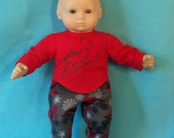 15 inch Doll Flannel Cardinal Bird Pajamas with Feet