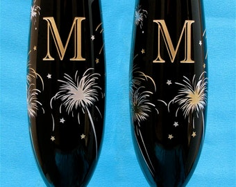 2 Black Champagne Glasses, New Year's Eve Wedding Toasting Flutes with Fireworks, Personalized and/or Monogrammed