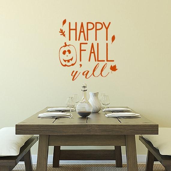 Happy Fall Y'all vinyl decal, autumn wall decor, holiday window decal, halloween Thanksgiving decal, pumpkin decor