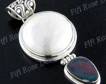 "Opulent 1 15/16"" Biwa Pearl Genuine Opal Gemstone 925 Sterling Silver Pendant"
