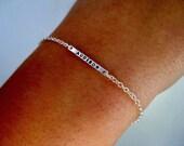 Personalized Bar Bracelet - Delicate, Sterling, Stamped Bracelet