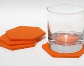 Bright Orange Geometric Hexagon Felt Beverage Coasters Modern Minimalist Coaster Set