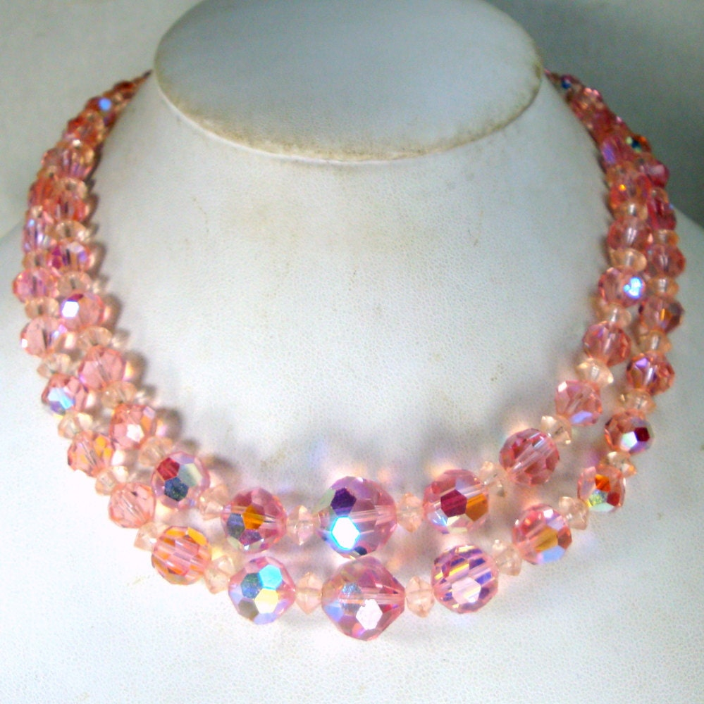 pink bead necklace baby pink gorgeous glittery