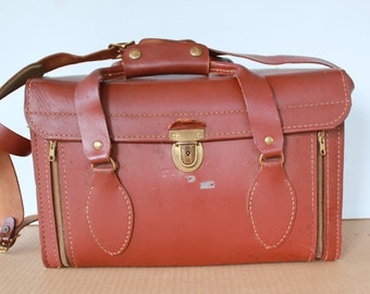 Extra Large Vintage Perrin Leather Camera Bag Carrying Case SLR 35MM Mid Century Modern