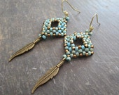 Feather Earrings, Hippie Earrings, Turquoise Earrings/ Brass  Feather Earrings,  / /Bohemian Earrings / Boho Jewelry