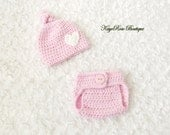 Preemie Baby Girl Crochet Knot Heart Hat and Diaper Cover Set Pink and White