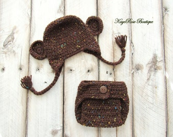 Newborn to Three Month Old Crochet Baby Monkey Earflap Hat and Diaper Cover Set Speckled Brown