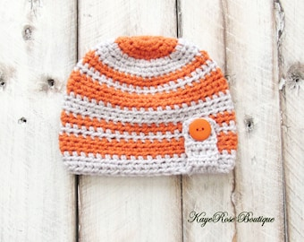 3 to 6 Month Old Baby Boy Striped Crochet Button Hat Orange and Gray