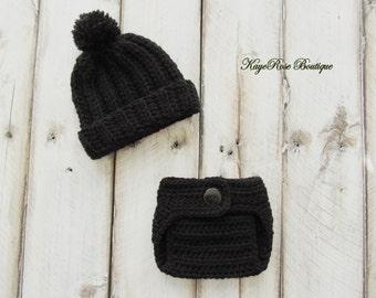 Newborn Baby Boy Crochet Pom Pom Hat and Diaper Cover Set Black