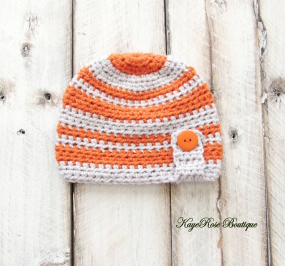 3 to 6 Month Old Baby Boy Striped Crochet Button Hat Orange