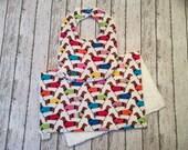 Drooler Infant Bib and Burp Cloth Set | Trendy Neutral Dachshund Fabric