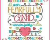 Fearfully and Wonderfully Made PSALM 139:14 Tribal Arrows Word Art Applique 4x4 5x7 6x10 7x11 Machine Embroidery Design
