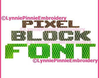 PIXEL BLOCK Simple Embroidery Font  3 Sizes  Machine Embroidery Design