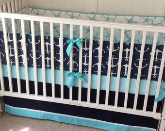 Crib Bedding Set Aqua and Navy Nautical Deposit