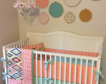 Baby Girl Crib Bedding Desert Peach Mint Gold Aztec Tribal