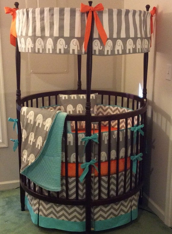 Round Crib Set-Aqua, Orange & Gray by ButterBeansBoutique