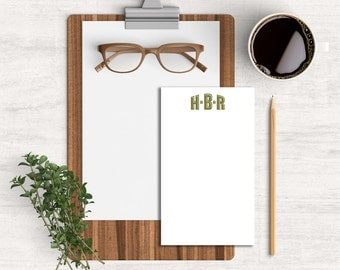 Personalized 3.4 x 5.75 Monogrammed Notepad Office Supply Gift for Men Gift for Dads