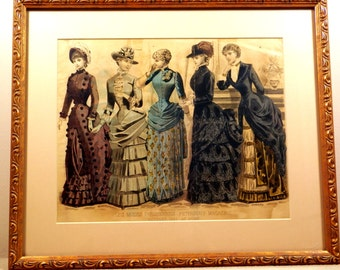Antique Peterson's Hand-Tinted Color Fashion Plate Oct 1883-Original, and Nicely Framed, 5 Ladies Fashions
