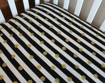Metallic Gold Fitted Crib Sheet or Changing Pad Cover - Polka Dots on Stripes - Gold Dot Crib Sheet black and white stripe