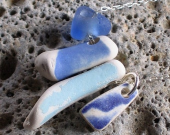 Blue Sea Glass Beach Pottery Sterling Silver Necklace (751)