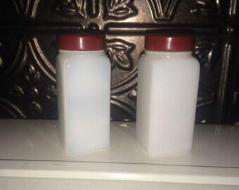 Vintage Hoosier Milk Glass Jars Red and White