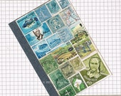 Pocket Travel Journal 1, Recycled Squared A6 Traveler's Notebook, Postage Stamp Art Collage, Blue Green Landscape Snail Mail Art Penpal Gift