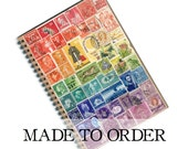 Recycled Rainbow Monthly Planner Notebook, Undated Diary - Upcycled Postage Stamp Collage Art, Handcrafted Vintage Travel Eclectic Boho Gift