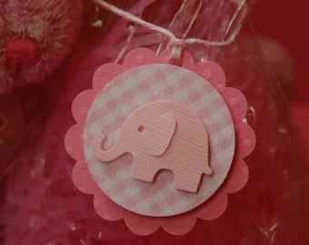 Pink Gingham Elephant Gift Tags -- Set of 6 -Shower Favor Tag-First Birthday-Girl Baby Shower-Thank You Tag-Elephant Party -- Ready to Ship