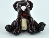 Brown dog bead - chocolate labrador dog - art glass - artisan bead -   lampwork glass sculpture bead -  from Izzybeads SRA UK