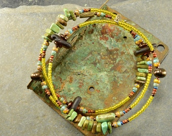 Chartreuse go round  a colorful adjustable wrap around bracelet made with genuine sea glass and magnasite  stone funky organic jewelry