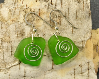 Emerald green Maine sea glass earrings with hand forged sterling silver spirals