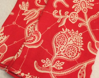 Red and White Floral Cloth Dinner Napkins set of 4 Eco Friendly Living Dining Reuseable