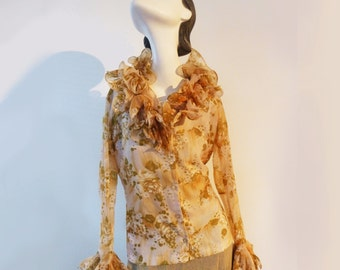 Gorgous Vintage Blouse from the 60s  Haut Couture Ruffled Womens Blouse Long Sleeve blouse in beige green brown floral pattern, Joni Apple