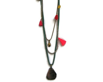 Boho Jewelry. Muse Layered Long Bohemian Necklace  With Charms in Green