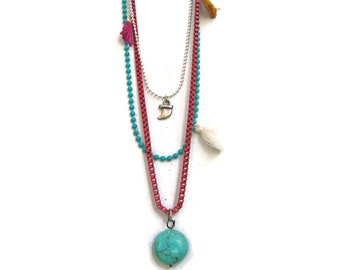 Boho Jewelry. Muse Layered Long Bohemian Necklace  With Charms and Turquoise