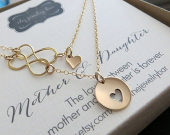 Mother daughter jewelry - mother daughter necklace - infinity heart necklace