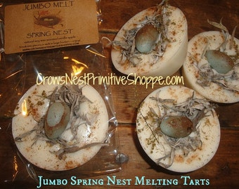 Jumbo Spring Nest Melting Tart made from pure soy wax scented vanilla apple and adorable herbal nest with blue wax egg to melt or display