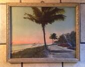 Tropical Island Sunset Antique Framed Print